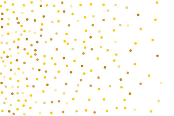Background with Golden glitter, confetti. Gold polka dots, circles, round. Typographic design. Bright festive, festival pattern