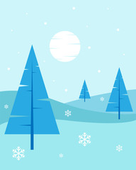 Winter Landscape - Flat, New Year, Vector Illustration