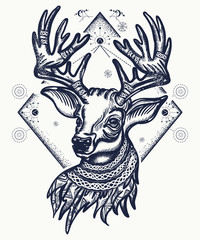 Deer tattoo and t-shirt design. Christmas reindeer. Symbol of winter, new year, Christmas. Beautiful reindeer portrait tattoo art