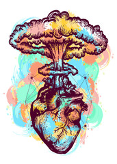 Nuclear explosion of anatomical heart color tattoo and t-shirt design surreal graphic. Heart and nuclear explosion tattoo art. Symbol of love, feelings, energy, water color splashes