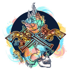 Skull, crossed guns, rose, color tattoo art. Human skull and revolvers t-shirt design. Symbol of the wild west, robber, crime. water color splashes tattoo