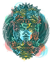 Mayan color tattoo and t-shirt design. Ancient aztec totem, Mexican god. Ancient Mayan civilization. Indian mayan carved in stone tattoo art water color splashes