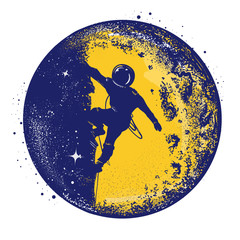 Astronaut color retro tattoo and t-shirt design. Astronaut on the moon. Spaceman new planets retro poster. Research symbol space, Universe. Brave astronaut at the spacewalk on the moon color tattoo