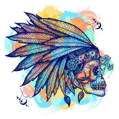 Indian skull color tattoo art. Warrior symbol. Native American indian feather headdress with human skull t-shirt design. Wild west water color splashes tattoo