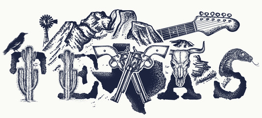 Texas tattoo and t-shirt design. Texas slogan. Mountains, revolvers, skull bison, cactus, guitar. American art. USA art, Symbol of prairies, wild west, blues music tattoo