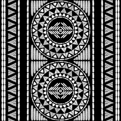 Aztec embroidery pattern design seamless vector. Abstract geometric border texture with ikat ornament. Ethnic print for boho home decor textile, rug, pillow case, blanket, fashion clothing fabric.