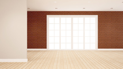 brick wall decoration in empty room for apartment or hotel artwork  - Interior design - 3D Rendering