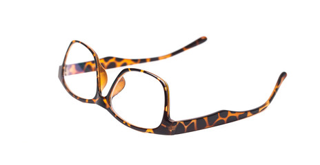 brown eyeglasses on white background isolate
