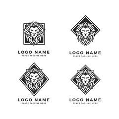 Set of King Lion Head Logo Template, Strong Glare Lion Face. Black  Elegant Transparent Design Badge, Sticker, Icon, Emblem, Brand Identity with Rotated Square, Diamond Frame
