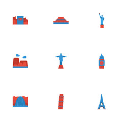 Flat Icons Japan, Drought, Rio And Other Vector Elements. Set Of Monument Flat Icons Symbols Also Includes Shibuya, Pisa, Country Objects.