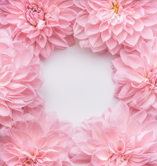Wall Mural - Creative pastel pink flowers frame, top view. Layout  or greeting card for Mothers day, wedding or happy event