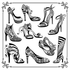 Graphic illustration with decorative shoes_set 4