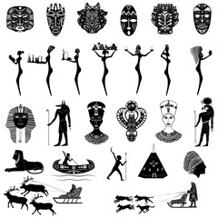 A set of elements from shaman masks, figures for displaying traditional, ancient cultures, religions, customs