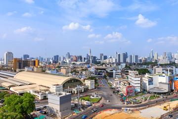 Bangkok, Thailand: May 21, 2017 - Bangkok Railway Station (Hua Lamphong), center of mass transit built in Italian Neo-Renaissance-style.