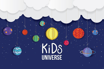 Origami made colorful Kids Universe and cloud.paper art style. Kids layer arts Vector illustration
