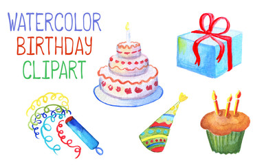 Watercolor birthday decor on white background. Birthday cake with candles.