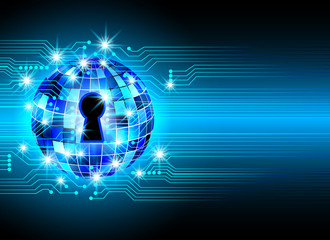 Abstract security technology background, key lock and digital technology background, Vector Illustration