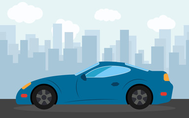 Blue sports car in the background of skyscrapers in the afternoon.  Vector illustration.