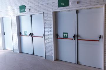 Closed emergency exit doors Wall mural