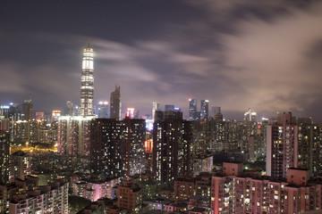 Night skyline overseeing Shenzhen city