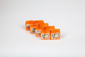Japanese food Sushi rolls with fish on a white background