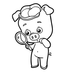 Coloring book, pig with a magnifying glass