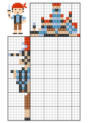 Paint by number puzzle (nonogram). Pirate