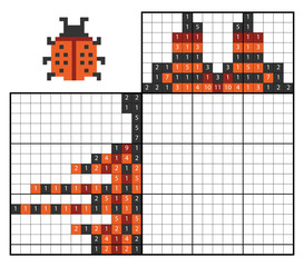 Paint by number puzzle (nonogram), Ladybug