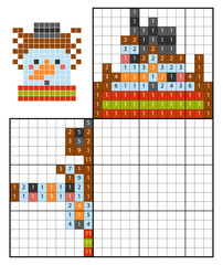 Paint by number puzzle (nonogram), Snowman