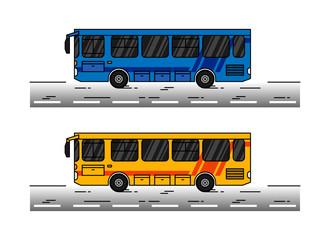 City bus vector illustration. Public transport bus line art concept. Urban vehicle (schoolbus) colorful graphic design.