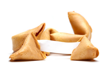 Photo of chinese cookies with paper for wishes