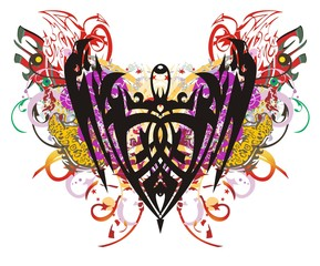 Grunge eagle symbol color splashes. Eagle symbol, similar to a shield, with red wings, arrows, linear patterns and elements of a jaguar