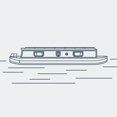 Editable Narrow Boat Vector Illustration in Outline Style