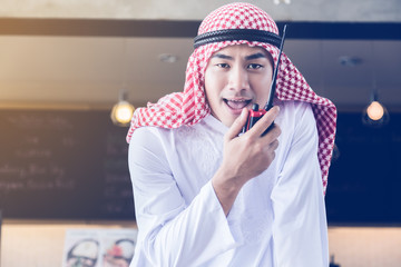 arabian business man with communication equipment tools comunication ideas concept
