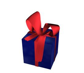 blaues Geschenk mit roter Schleife auf weiß isoliert