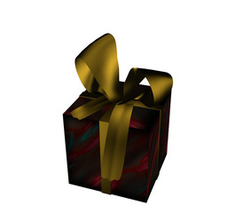 Weihnachtsgeschenk mit goldener Schleife auf weiß isoliert