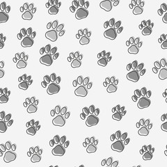 Dog or cat paws seamless pattern. Thin line vector illustration for background of pet shop.
