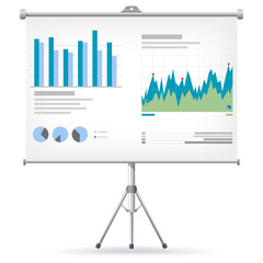 Financial Charts and Graphs on Projector Screen