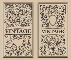 Vintage flourish frames. Design element for card, banner, flyer. Vector illustration
