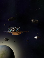Spaceships Travelling Through an Asteroid Field Above a Blue Green Planet - science fiction illustration