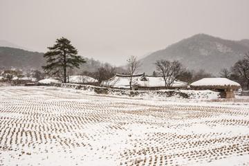 Asan Oeam Village landscape with snowing down.
