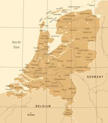 Netherlands Map - Vintage Vector Illustration