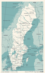 Sweden Map - Vintage Vector Illustration