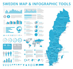 Sweden Map - Info Graphic Vector Illustration