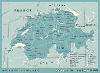 Switzerland Map - Vintage Vector Illustration