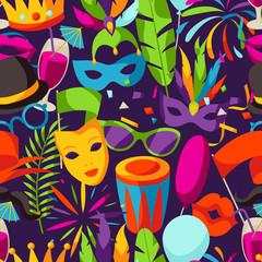 Carnival party seamless pattern with celebration icons, objects and decor