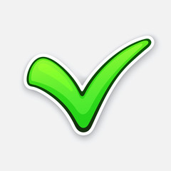 Vector illustration. Green check mark for indicate right choice. Symbol of verified, correct or approved choice. Sticker with contour. Vote and accept button. Yes sign. Isolated on white background