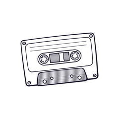Vector illustration. Hand drawn doodle of Retro audio cassette. Analog media for recording and listening to stereo music. Old-fashioned tape cassette. Cartoon sketch. Isolated on white background