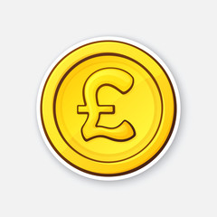 Vector illustration. Gold coin of British pound. Cash money. Symbol of business, economy and finance. The symbol of world currencies. Sticker with contour. Isolated on white background