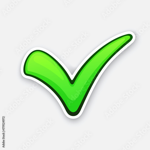 Vector Illustration Green Check Mark For Indicate Right Choice